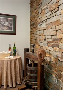 Brownstone ledgestone wall